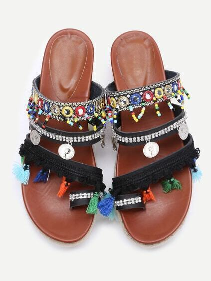 Black Open Toe Coin Fringe Trim Flatform Sandales