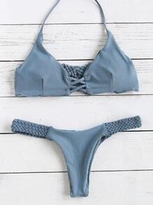 graue abgesperrte geflochtenen band schulterfreien bikini - set
