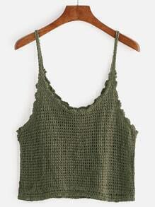 Green Hollow Out Knitted Cami Top