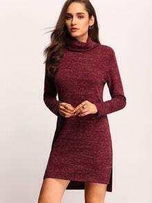 Burgundy Turtleneck T-shirt Dress