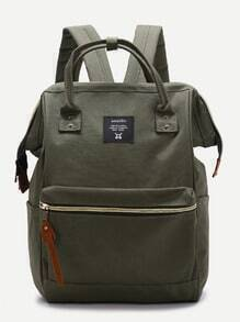 Green Zip Closure Canvas Backpack