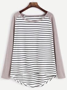 Contrast Sleeve Striped High Low T-Shirt