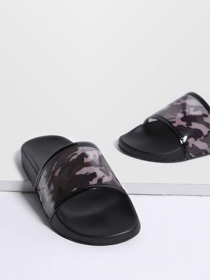 Black Camouflage Print Open Toe PU Sandals