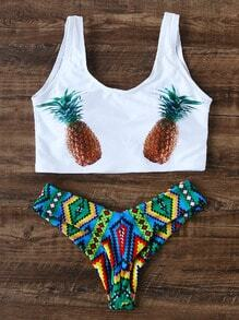 Collection de bikini sexy imprimé d'ananas - blanc