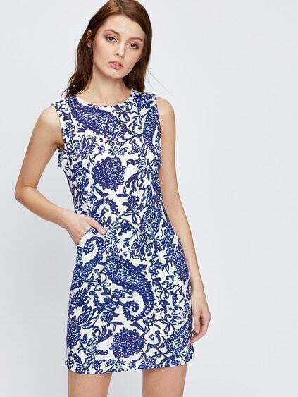 Blue Sleeveless Tribal Print Sheath Dress