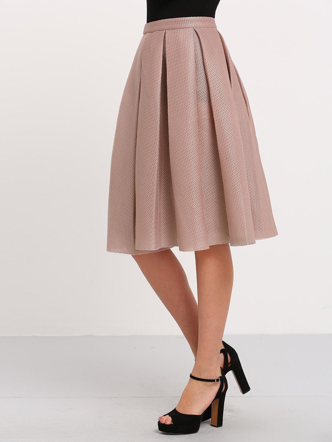 chagne high waist pleated flare skirt