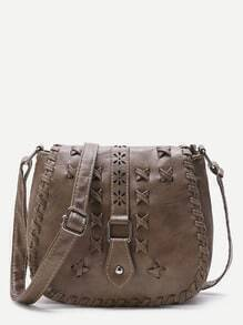 Khaki Criss Cross Detail Buckle PU Saddle Bag