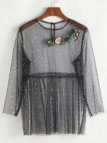 Black Embroidered Applique Buttoned Keyhole Star Mesh Top