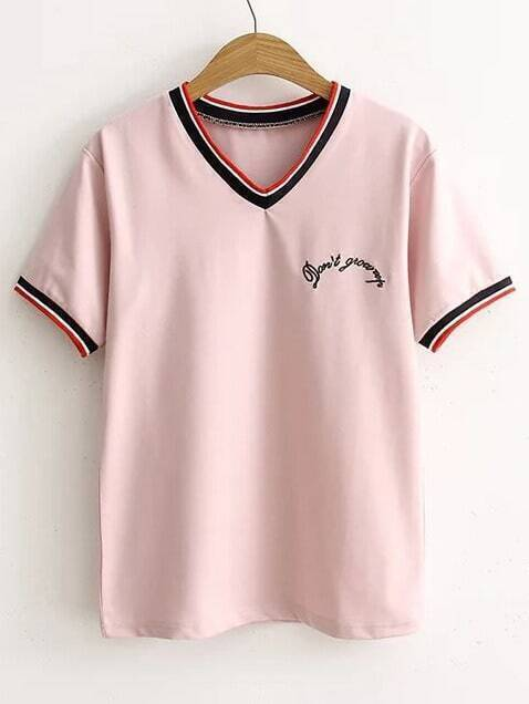 Pink Letter Embroidery Striped Trim T-Shirt