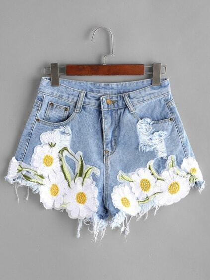 Hellblau Ripped Appliques Raw Hem Denim Shorts