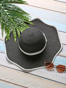 Sombrero con ribete en contraste con lazo - negro