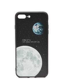 Funda para iphone 7 plus con estampado de Luna - negro