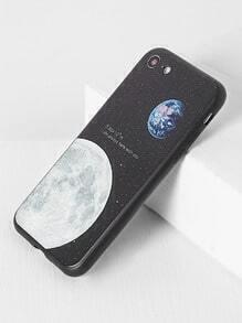 Funda para iphone 7 con estampado de Luna - negro