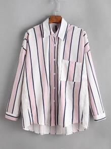 Blusa de rayas con hombro caído y bolsillo