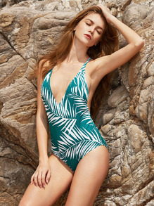 Leaf Print V Neck Open Back One-Piece Swimwear