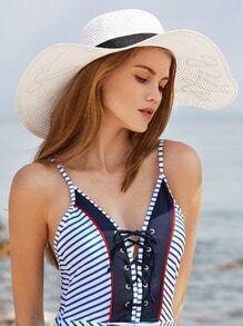 Sombrero de paja con ala ancha con lentejuelas - blanco