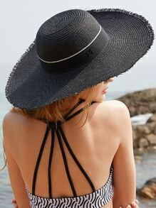 Black Cloth Band Straw Hat With Letter