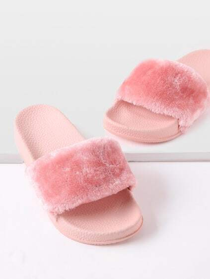 Open Toe Faux Fur Slippers