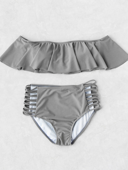Grey Strapless Ladder Cutout High Waist Ruffle Bikini Set