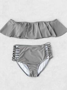 Buy Grey Strapless Ladder Cutout High Waist Ruffle Bikini Set