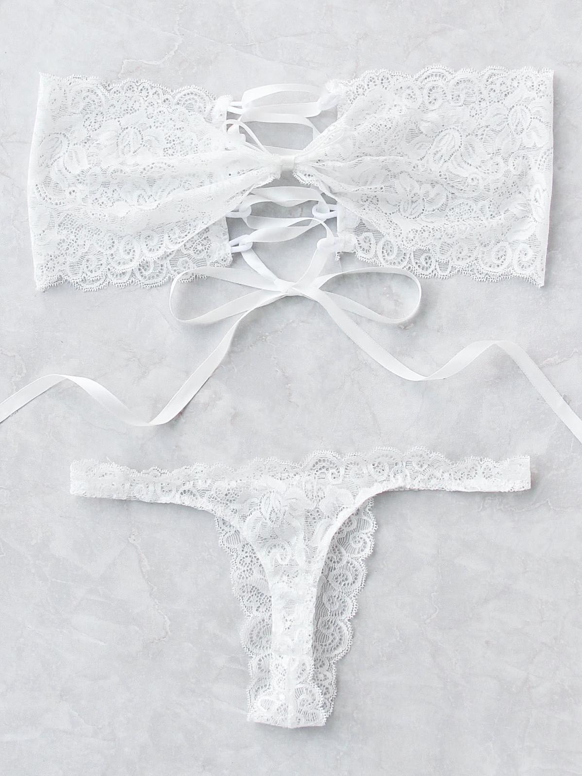 小可愛式 交叉綁帶 內衣睡衣 組