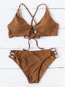 Ensemble de bikini arrière à cravate à l'échelle de l'échelle