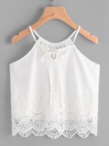 Contrast Lace Self Tie Cami Top