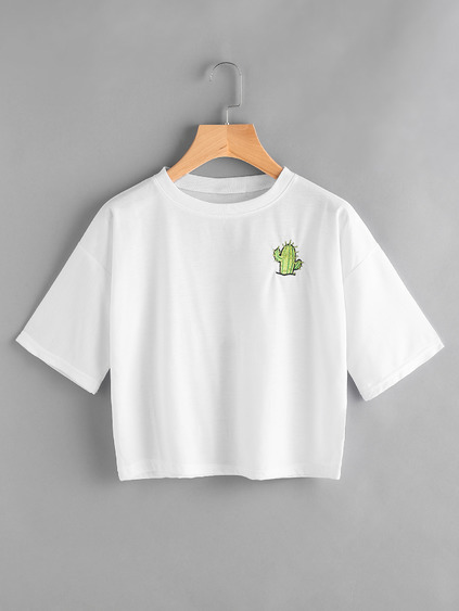 Cactus Embroidered Slogan Print Back Tee