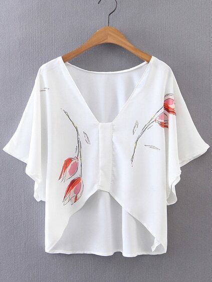 V-Cut Batwing Sleeve Asymmetrical Hem Blouse