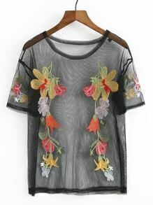 Flower Embroided Mesh Top