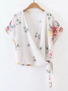 Surplice Front Tie Waist Floral Top