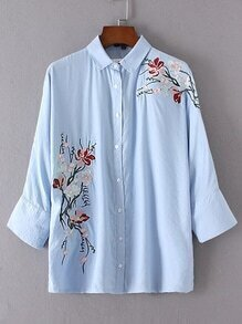 Flower Embroided Single Breasted Blouse