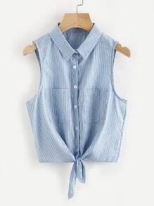 Pinstriped Self Tie Front Top With Dual Chest Pockets