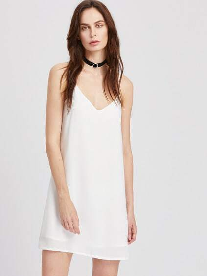 Plunging V-Neckline Slip Dress