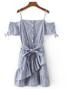 Vertical Striped Ruffle Dress With Self Tie