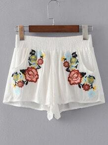 Elastic Waist Flower Embroidery Shorts