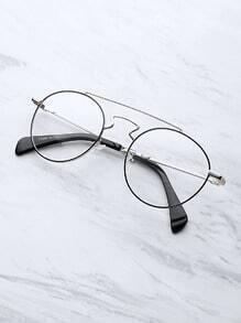 Gafas redondas con barra superior en contraste