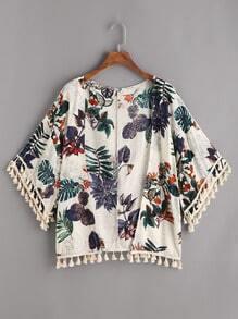 Kimono con espiga con estampado tropical