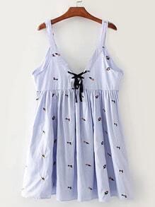 Double V Neck Lace Up Front Sleeveless Dress