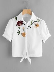Floral Embroidered Knot Front Blouse