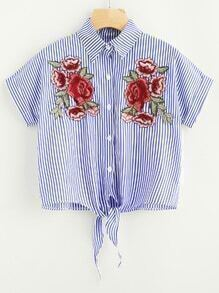 Rose Embroidered Patch Striped Tie Front Shirt