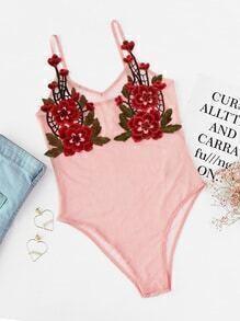 Cami Bodysuit mit V-Ausschnitt und Blumenapplikation