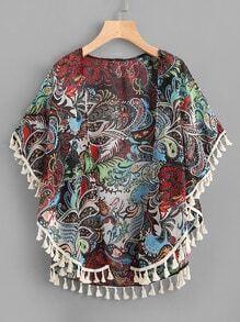 All Over Printed Tassel Hem Chiffon Kimono