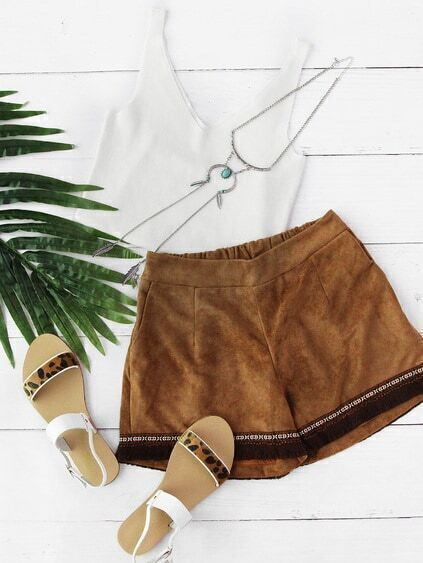 Aztec Embroidered Tassel Hem Corduroy Shorts