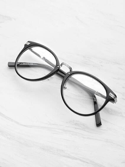 Black Frame Metal Arm Clear Lens Glasses