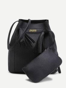 Tassel Detail Shoulder Bag With Pouch