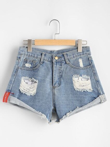 Shorts en denim roto de doblez