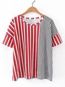 Contrast Vertical Striped Tee