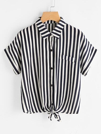 Vertical Striped Knot Front Cuffed Shirt