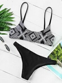 Geo Print Mixed And Match Bikini Set